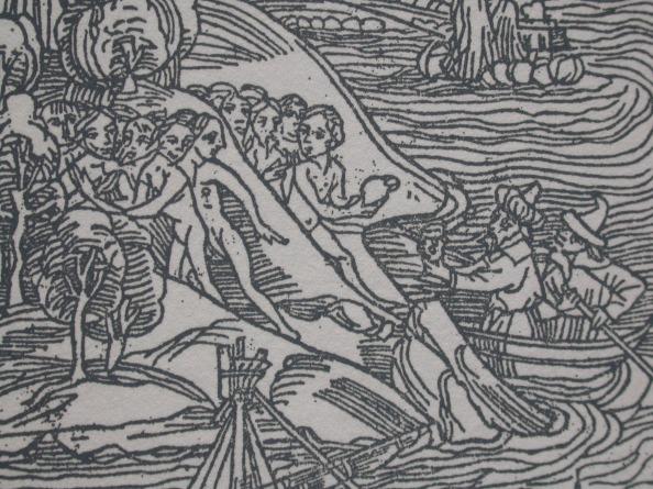 哥倫布與美洲原住民首次相遇交換伴手禮的古版畫.JPG