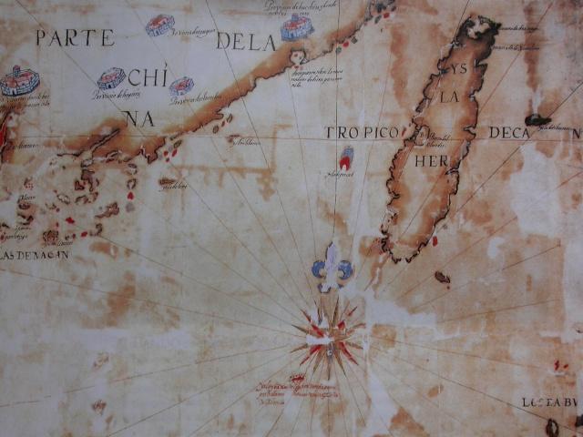 1626年Pedro de Vera所繪的艾爾摩莎與  中國東南海岸圖,臺灣下方的紅色  礁石即是東沙島.JPG