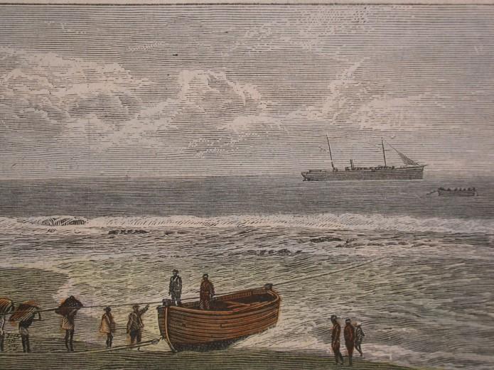 十九世紀接駁小船運送貨物至外海大船的古版畫.JPG