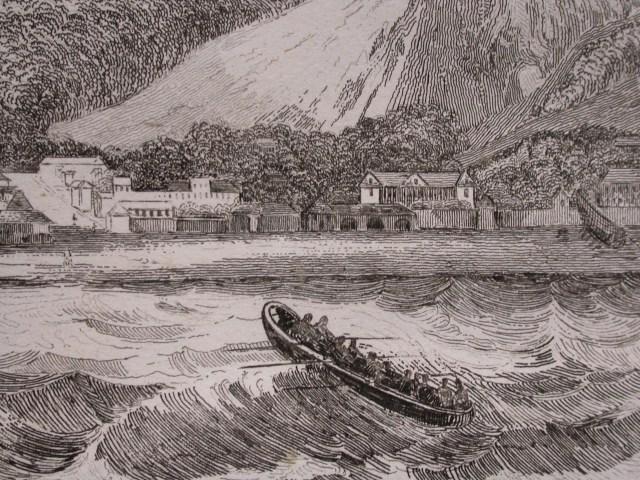 接駁小艇向岸邊挺進的古版畫.JPG