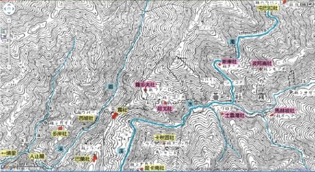 1916年五萬分之一《蕃地地形圖》,霧社群各社分布圖