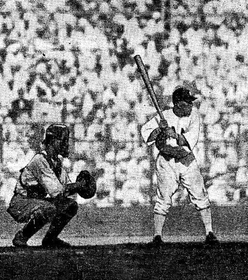 打擊手平野保郎(羅保農)的姿勢(局部;大阪朝日新聞,1931年8月19日,第四版)。