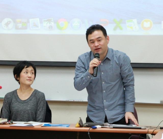 報告人森亞紀子小姐(左)和主持人中村平先生(右)。(許妝莊拍攝)