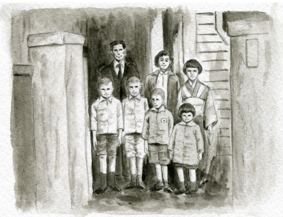 阮朝日與家人合影。(許書寧繪圖) 阮朝日(1900-1947)出身屏東東港林邊的望族,是日治時期的菁英分子。二二八發生時,他是《臺灣新生報》總經理,生病在家,3月12日被情治人員帶走,從此下落不明。這件事對家人衝擊很巨大,長女阮美姝,今年八十七歲,一生為追查二二八真相和父親之死,勞瘁到現在。