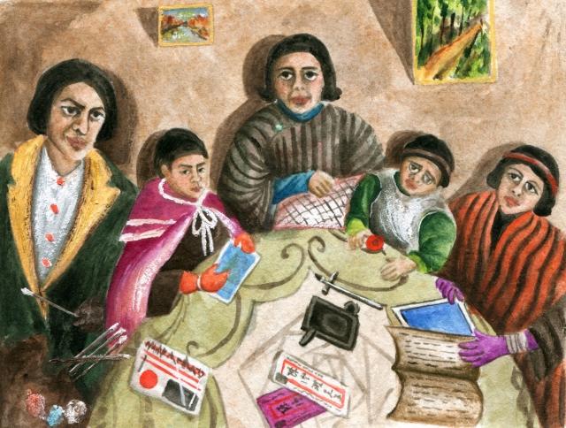 陳澄波(1895-1947)1931年作品《我的家庭》。(許書寧摩繪)