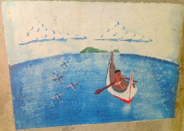 學校壁畫,海很藍。(照片由作者提供)