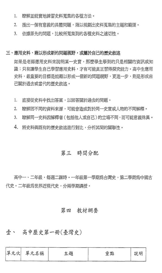 附錄1:第一份將臺灣史獨立成冊的課綱草案1